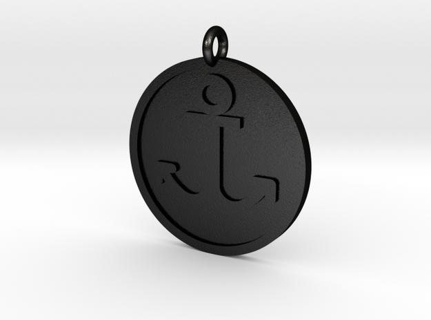 Anchor Pendant in Matte Black Steel