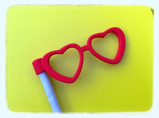 Glasses Penciltopper: Love edition in Red Processed Versatile Plastic