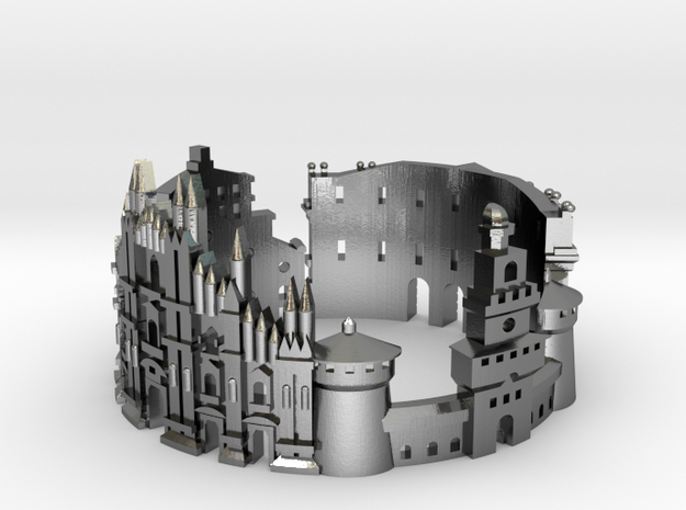 Milan Skyline - Cityscape Ring in Polished Silver: 8 / 56.75