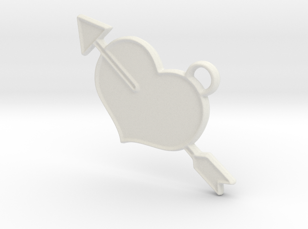 Shot Through The Heart Keyring in White Natural Versatile Plastic