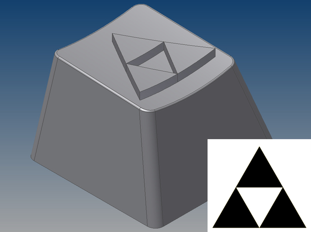 Legend of Zelda - Triforce Keycap (R4, 1x1) in White Natural Versatile Plastic