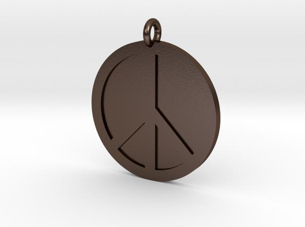 Peace Pendant in Polished Bronze Steel