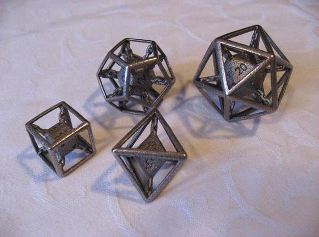 Chained die 6-sided 3d printed Set