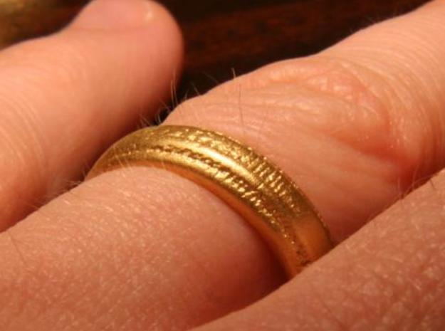 Wedding band 3d printed Printed in stainless steel with gold plating.