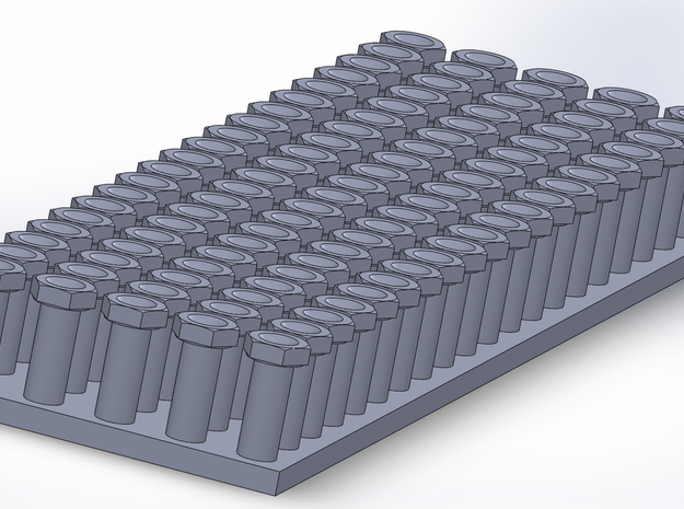 """3-8"""" NAS Bolts - 1:12 Scale in Smoothest Fine Detail Plastic"""