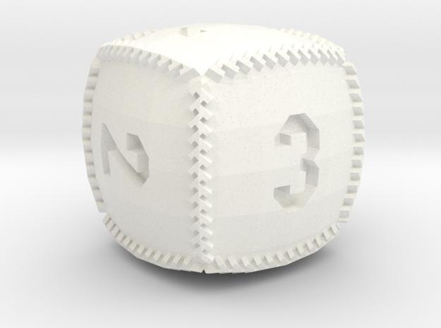 Baseball D6 in White Processed Versatile Plastic