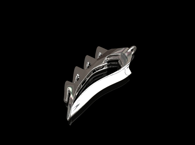 Shark Tooth Pendant in Rhodium Plated