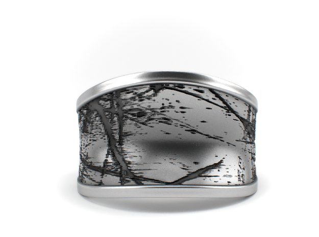 Scratched - Textured Sterling Silver Ring in Polished Silver: 7 / 54