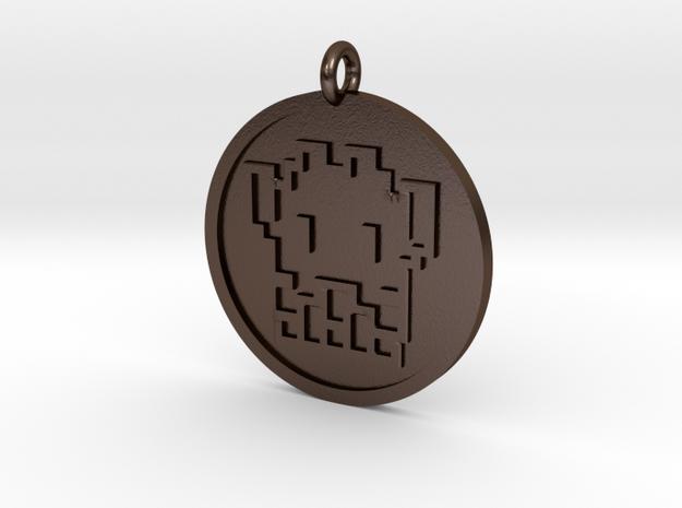 8 Bit Alien Pendant in Polished Bronze Steel