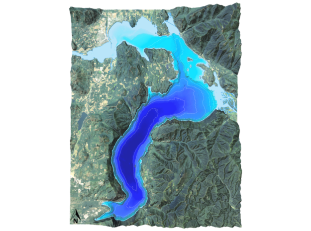 "Lake Pend Oreille Map: 8.5""x11"" in Coated Full Color Sandstone"