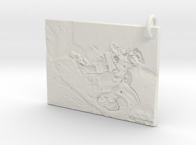 Dirt bike Pendant in White Strong & Flexible