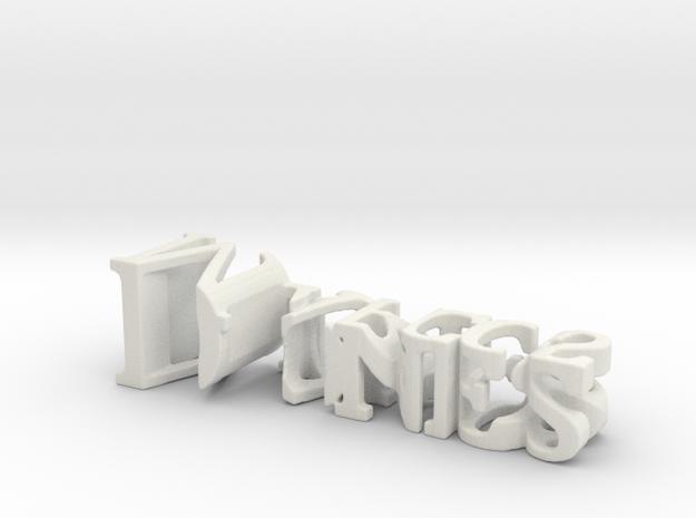 3dWordFlip: Diones/Marcos in White Natural Versatile Plastic