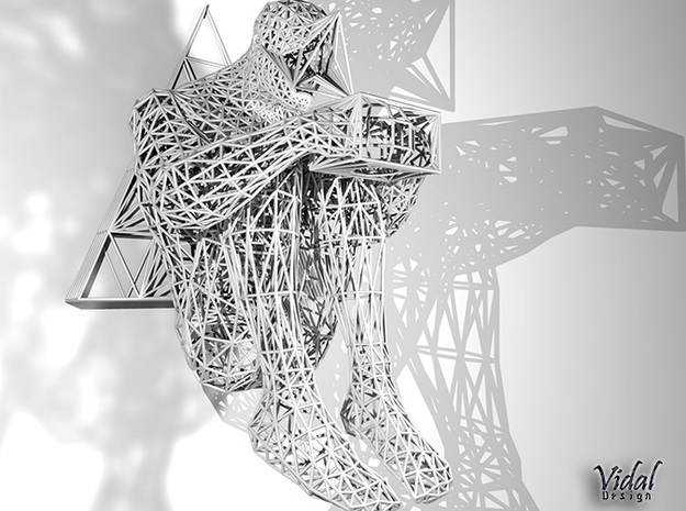 Tied Hands Sculpture Wireframe - 260mm 3d printed