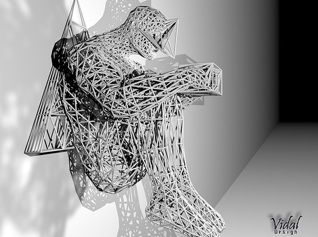 Tied Hands Sculpture Wireframe - 260mm in White Natural Versatile Plastic