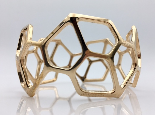 Catalan Bracelet - Pentagonal Hexacontahedron in Polished Bronze: Medium