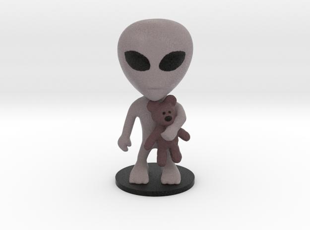 Little Alien with a Teddy Bear in Full Color Sandstone