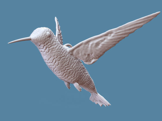 Hummingbird Hanging Ornament in White Strong & Flexible
