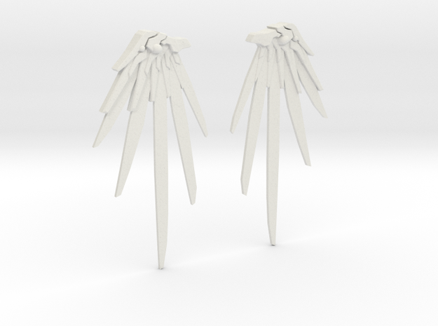 Overwatch - Mercy Wing Earrings in White Strong & Flexible