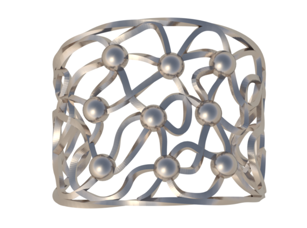 Twisted Bead Bangle in Polished Silver