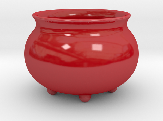 "Pot ""Futuristic"" in Gloss Red Porcelain"
