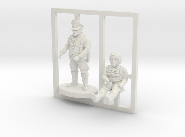 BF109 Pilots,1/56 scale,28mm wargames in White Natural Versatile Plastic