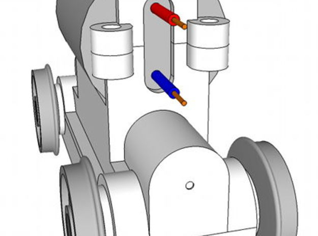 TT Truck 9' wheelbase 10mm Motor 3d printed Rear view, showing how the motor leads pass through the frame