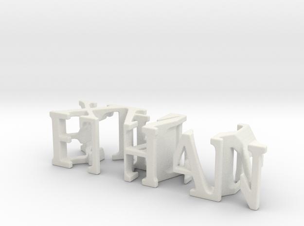 3dWordFlip: ETHAN/XAVY in White Natural Versatile Plastic