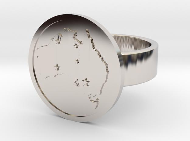 Australia Ring in Rhodium Plated Brass: 10 / 61.5