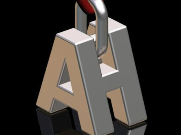 """A & H"" 3d Logotype  in Polished Bronzed Silver Steel"