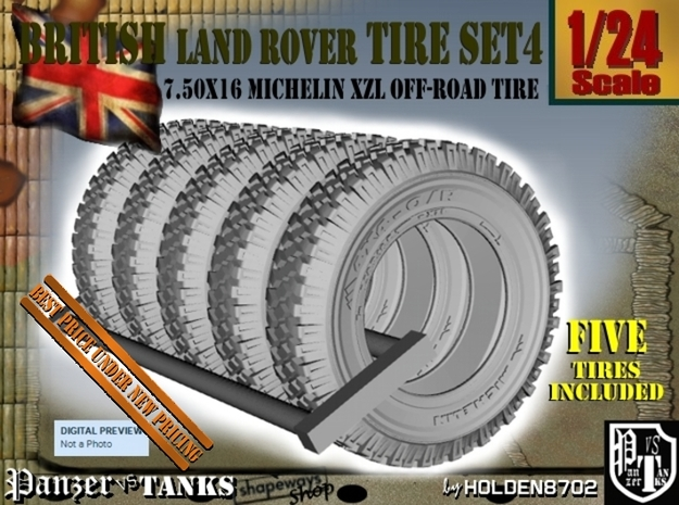 1-24 Land Rover 750x16 Tire Set4 in Frosted Ultra Detail