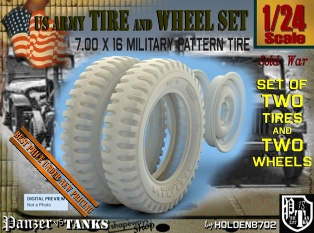 1-24 Tire And Rim 700x16 in Smooth Fine Detail Plastic
