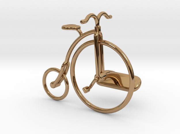 Old Bike Cufflink in Polished Brass