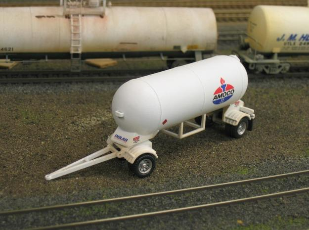 HO 1/87 LPG single-axle Pup/Calf, trailer 15 3d printed My LPG 'pup' with Promotex wheels fitted. Note how the dolly & A-frame move.