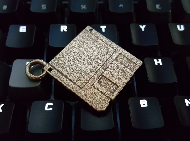 "3.5"" Floppy Disk Pendant / Keychain in Stainless Steel"