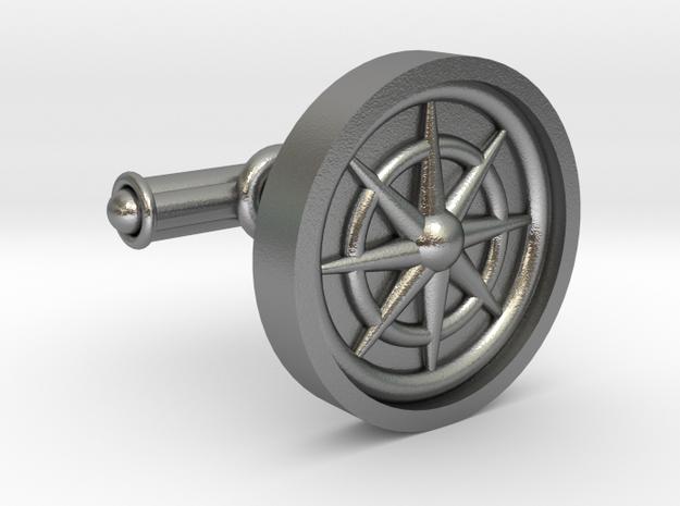 Compass Cufflink in Raw Silver