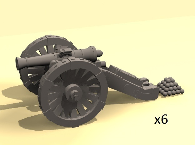 1/160 Prussian Dieskau M1754 6-pdr cannon (6) in Smooth Fine Detail Plastic