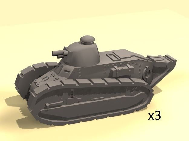 Renault FT Tank 1/160 x3 in Smooth Fine Detail Plastic