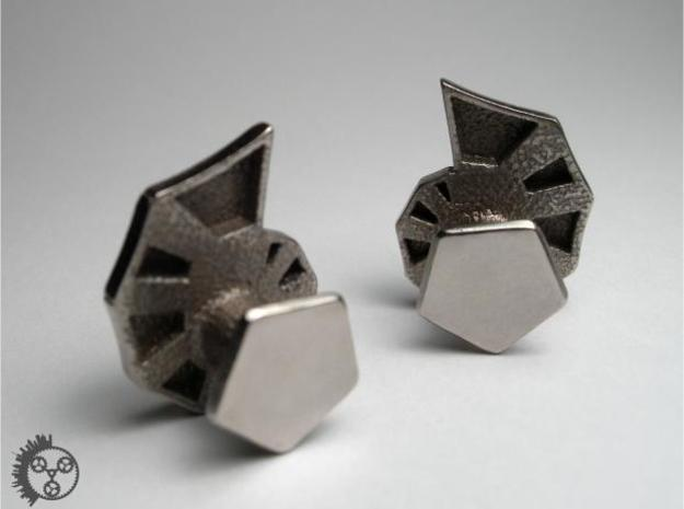 Jigsaw Nautilus Cufflinks 3d printed Polished Stainless