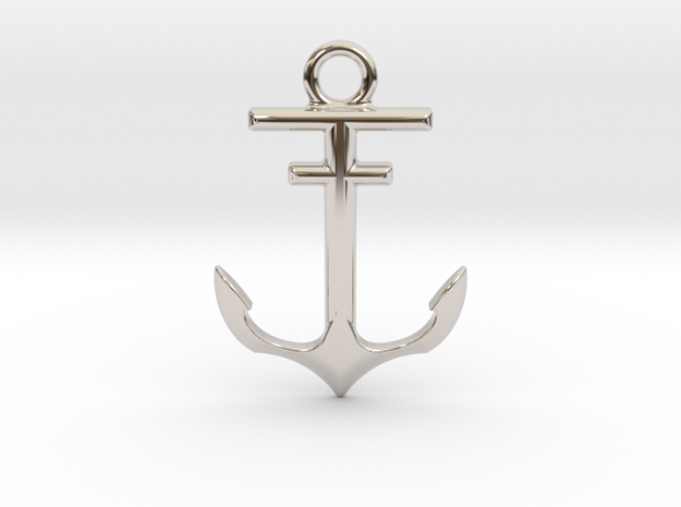 Anchor Pendant in Rhodium Plated