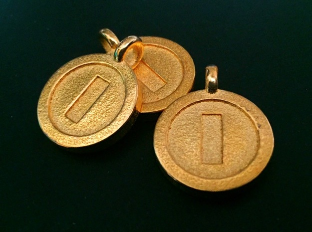 Mario Coin Pendant/Keychain in Polished Gold Steel