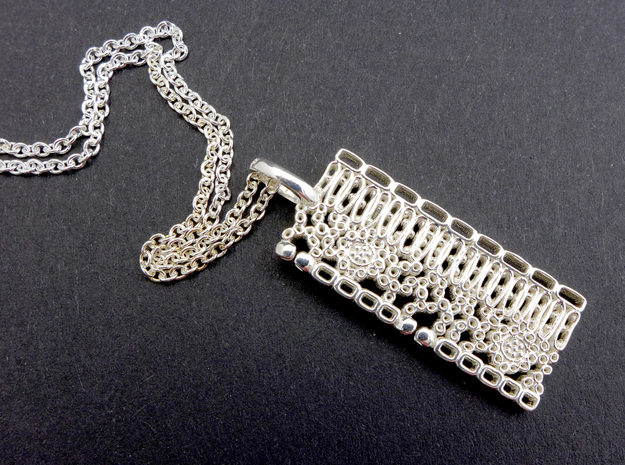 Dicot Leaf Anatomy Pendant in Polished Silver