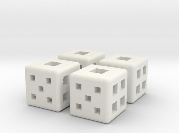 d6 Square Dice 12mm x4 in White Natural Versatile Plastic