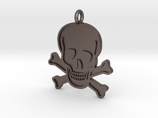 Skull & Crossbones Pendant in Polished Bronzed Silver Steel