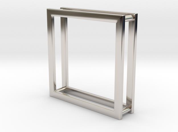 Wire ::: Square Pendant ::: v.01 in Rhodium Plated