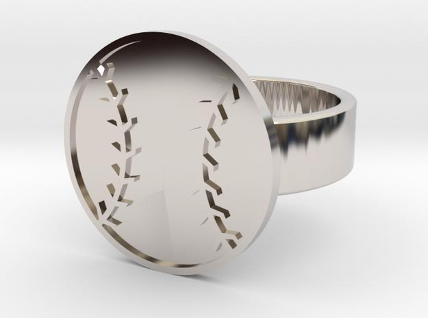 Baseball Ring in Rhodium Plated Brass: 10 / 61.5