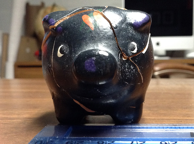 Piggy Bank 3d printed The original handmade, broken, pig.