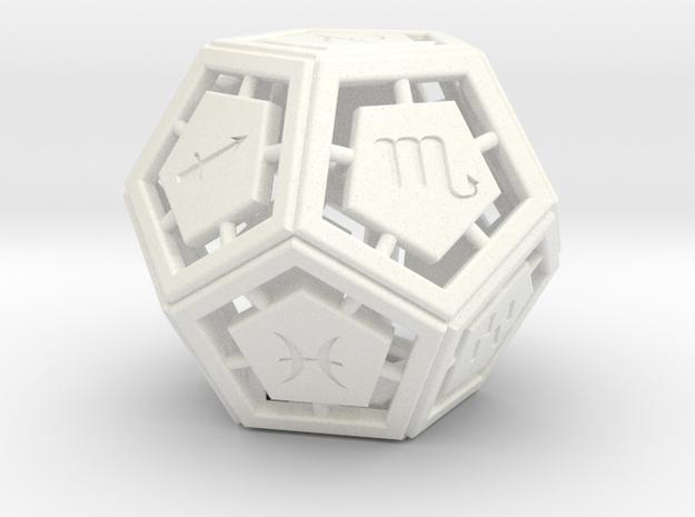 DODECA-ZODIAC (small) in White Strong & Flexible Polished