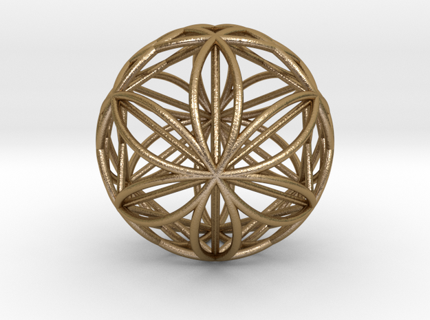 "Double Hexasphere w/nested Hexahedron 2.2"" (nb) in Polished Gold Steel"