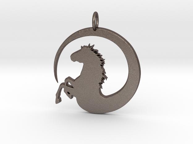 Pretty Horse In Circle Pendant Charm