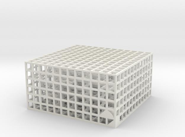 Maze 07, 6x6x3 in White Natural Versatile Plastic: Medium